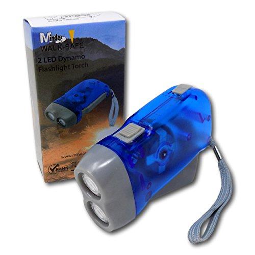Aufziehen Handpresse Kurbel Quetsch Charge Dynamo Aufladbar LED Camping Notfall Taschenlampe Fackel - für alle UK (ausschließend Kanal Inseln) - Blau