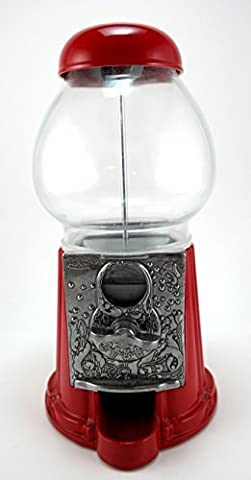 """Carousel King Gumball Machine Bank, 15"""" tall - Die cast Metal Glass Globe (15"""", Red) by Carousel"""