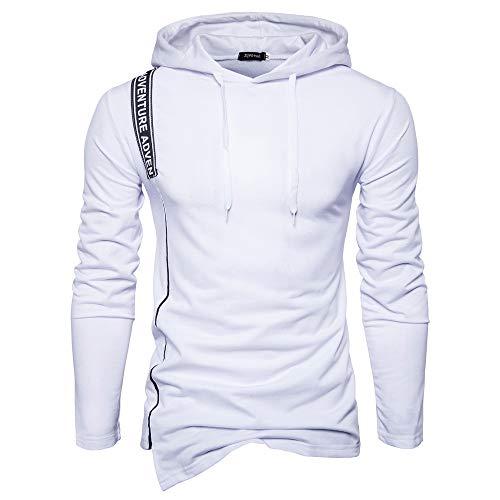 UJUNAOR Männer Hoodie Unregelmäßig Langarm Kapuzen T-Shirt Pullover Top Brief mit Kordelzug(Weiß,EU S/CN M)
