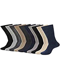 Balenzia Men's Mercerized and Combed Cotton Socks (Black, Navy, Light and D.Grey, Beige) -Combo Pack of 10