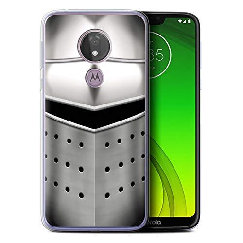 eSwish Gel TPU Hülle/Case für Motorola Moto G7 Power/Pigface Helm Muster/Ritter Rüstung Kollektion