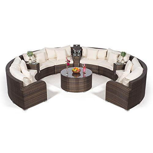 410epFJBNYL. SS500  - Giardino Riviera 8 Seat Brown Poly Rattan Garden Furniture Set + Coffee Table & 3 Armrests Ice Coolers + Outdoor Furniture Covers | 12 pcs Round Rattan Sofa Set | Rattan Patio Conservatory Furniture