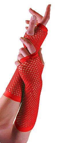 Fischnetz-shorts (Islander Fashions Damen Short & Long Fischnetz Handschuhe Damen Plain Beinw�rmer Fancy Party Zubeh�r Lange Handschuhe Rot One Size)