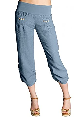 CASPAR KHS017 Pantalon 3/4 boyfriend femme en lin , Couleur:bleu