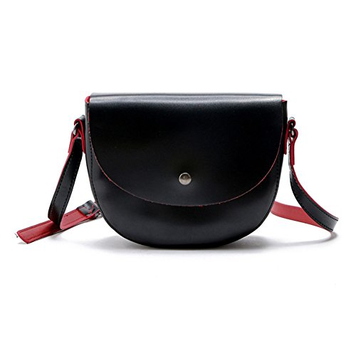ZCM Lady Taschen Mode Halbkreis Retro Welle Schulranzen Literarische Temperament Einstufige Schulter Messenger Bag Sattel Paket (Farbe : Schwarz) (Kupplung Sattel)