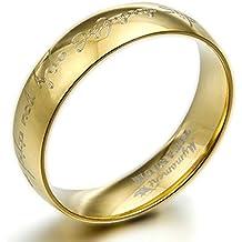 Gemini personalizzato signore dell' anello incisione Dome Comfort Fit anniversario di matrimonio in oro 18K titanio anello regalo di San Valentino per uomini, donne, Coppie, larghezza: 6mm - Oro Signore Dome
