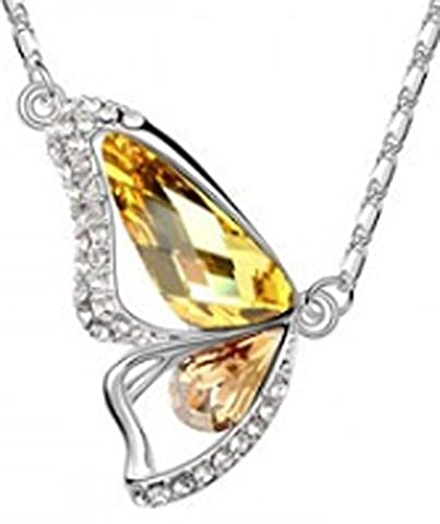 SaySure - 18K Gold Plated Rhinestone Crystal Luxury Butterfly Necklaces