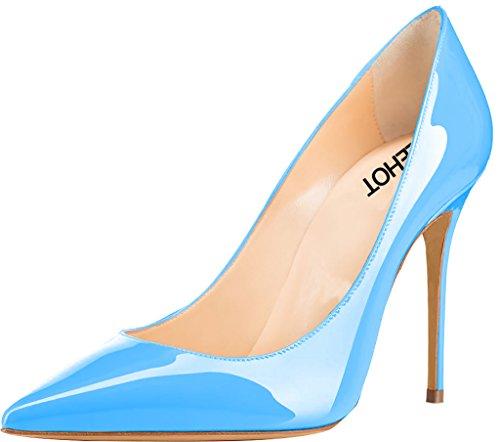 ELEHOT Femme 10cm Taille EU 34-46 Toyis Aiguille 10CM Synthétique Escarpins bleu Sky