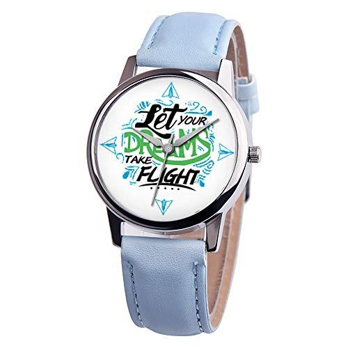Luckhome Uhren Sport Leder Armbanduhr Coole Mode Datum Lässige Analoge Uhr Unisex Inspirational Leather Band Analog Alloy Quarz-Uhr Sie Ihre Träume Herren- Und Damen gürteluhren Fliegen (G)