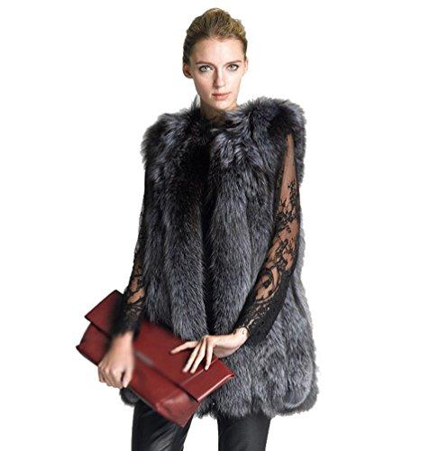 Lvrao donna giacca gilet invernale cappotto di falso pelliccia senza maniche giacchetto giubbotto parka (grigio, cn 4xl)