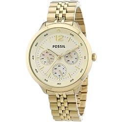 Fossil ES3248 - Reloj analógico de cuarzo para mujer, correa de acero inoxidable color dorado