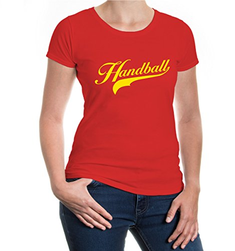 buXsbaum® Girlie T-Shirt Handball Logo Red-Sunflower