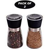 KURTZY (Pack of 2) Salt and Pepper Clear Grinder with Adjustable Ceramic Blades for Coarseness | Grind Spices Mixer Mill Shakers (7 cm x 13 cm)