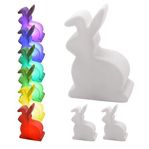 "3er Set LED Deko Lampe Osterhase mit Farbwechsler inklusive Batterien ""Bunny"""