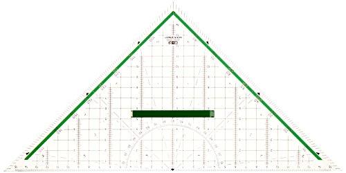 M+R 723320000 Geodreieck 32 cm glasklar hinterlegt, grün