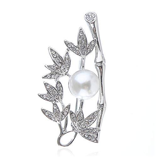Suolang Vintage Bambus Brosche Pin Legierung Diamant Brosche Brosche Wilde Joker Brosche, Silber