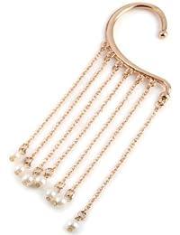 ZeHui - Orejeras de perlas blancas doradas con forma de perla