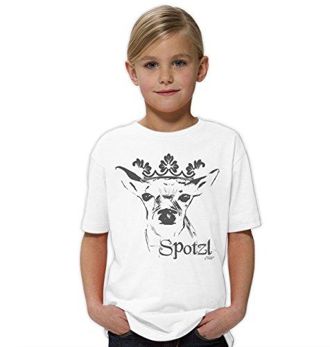 Kinder Mädchen Girlie Kurzarm Trachten T-Shirt Outfit zum Volksfest Oktoberfest Wiesn :-: Geburtstagsgeschenk Kids :-: Spotzl Farbe: Weiss Gr: 134/146