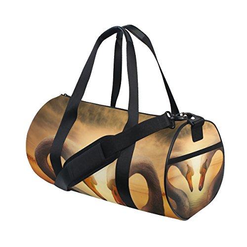 COOSUN Swans Liebe Duffle Tasche Schulter Handy-Sport Gym-Taschen für Männer und Frauen Mittel Mehrfarben