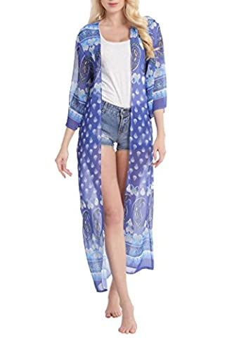 Abollria Women's Floral Chiffon Boho Kimono Cardigan Long Blouse Tops Beach Cover Up