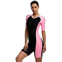 Damen Rosa UV Schutz Wetsuit Neoprenanzug Tauchanzug Wassersport short neu, Gr. L