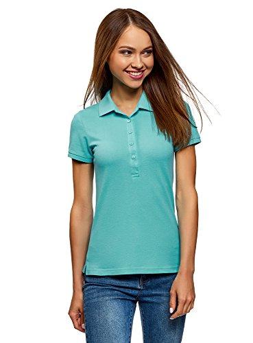 oodji Ultra Damen Pique-Poloshirt Basic , Farbe - Türkis (7301N) , Gr. XL