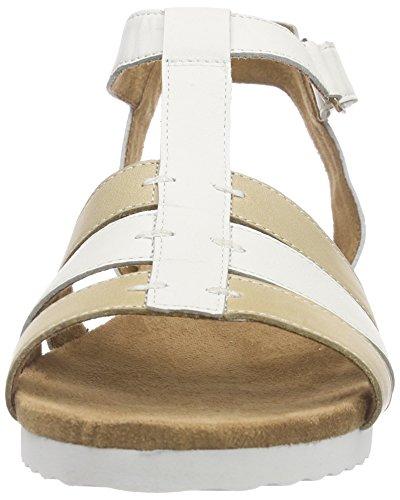 Caprice - 28611, Scarpe col tacco con cinturino a T Donna Avorio (Elfenbein (OFFWHITE/SAND 175))