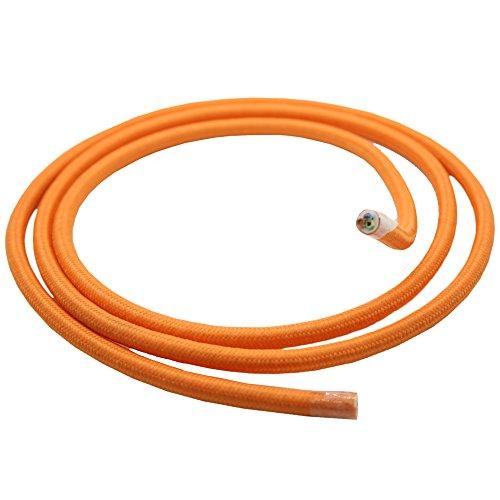 Câble textile Orange Longueur au choix 1.20/3/5/10 mètres 3 fils de plastique Câble Lampe Leuchten Câble Câble rond recouvertes