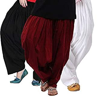 Pistaa's Women's Cotton Combo Of 3 Bottom (Cspsblkmrnmw1_Black ,Maroon & Milky White_Free Size)