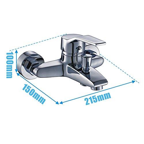 Auralum – Einhandmischer Duscharmatur mit Brausekopf und Brausehalterung, Chrom - 4