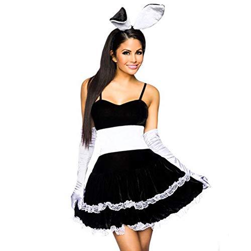 GYYWAN Sexy Halloween Spielen Mädchen Bunny Maid Kostüm Für Frauen Schöne Weibliche Minirock Lolita Maid Outfit Sexy Party Kostüme Cosplay