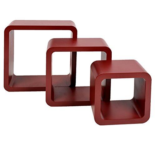 Set di 3 mensole a cubo da parete stile retró design anni '70 in colore rosso/marrone wenge.