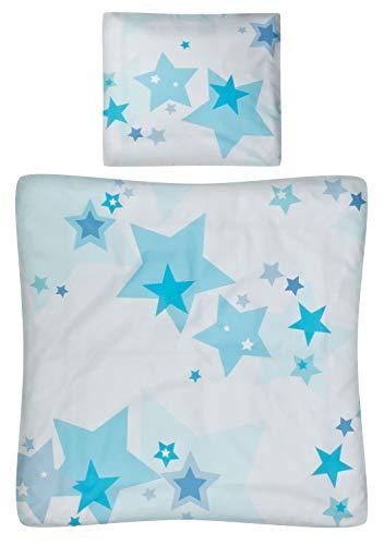 Wiege Kissen (Aminata Kids - Baby-Bettwäsche-Set Bett-Decke 80-x-80-cm Kissen-Bezug 35-x-40 cm für Stuben-Wagen oder Kinder-Wagen Wiegen-Set Kinder-Decke Jungen und Mädchen 100-% Baumwolle hell-blau Weiss Stern-e)