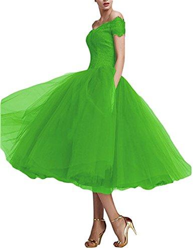 Weills Womens Tee Länge Cocktail Party Kleid Spitze Abendkleid aus der Schulter WE0015 (Lime-grün-cocktail-kleid)
