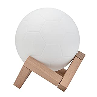 Football Night Lamp,Amamary88 3D USB Charging Hand Tap Control Colorful Magical Football Night Light Table Desk with Wood Stent Gift (8cm)