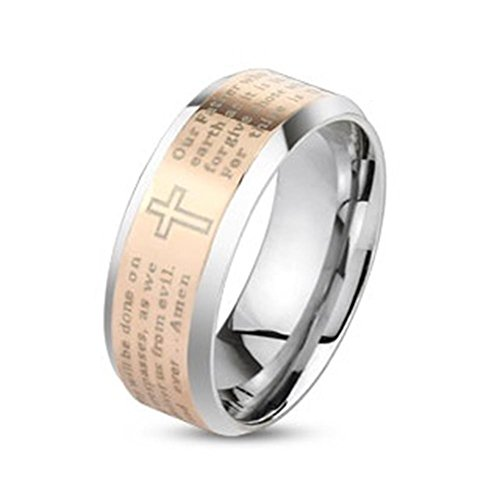 beyoutifulthings glänzender Kreuz Religion Band-Ring Chirurgenstahl 316L Verlobungs-Ring Partner-Ring Trau-Ring 47(15)-72(23)