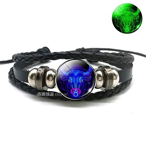 WODESHENGRI Armbänder,Waage Skorpion Sternbild Leuchtende Armband Leder Armband Sternzeichen Schmuck Armband Für Männer Frauen (Billig Kostüm Armbänder)