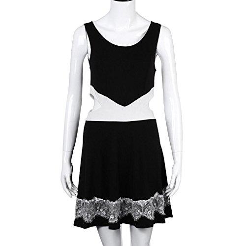 Kleid Transer® Damen Schlank Kleider mit Spitze O-Ausschnitt Sleeveless Minikleid Einheitsgröße: S-M Gr.S-XL Schwarz