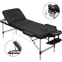 MARNUR Massageliege Mobile Massagetisch Massagebank Massagestuhl - Aluminium Deluxe 3 Zonen klappbar höhenverstellbare - mit Kopfstütze, Tragetasche Einfache Installation(180cm*60cm)