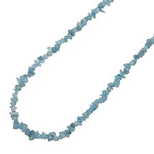 Aquamarin Splitter Kette schöne intensive Farbe Edelsteinkette ca. 90 cm Länge ohne Verschluss.(3393)