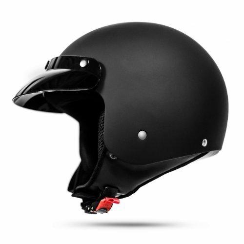 ATO-Moto Classic Jethelm in Schwarz matt - extrem leicht - aktuelle Sicherheitsnorm ECE 2205 - Größe: S 55-56cm