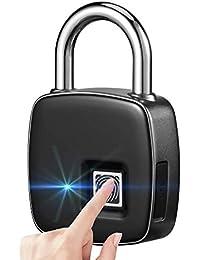 TOP EUROPE - Candado Cerradura De Huella Dactilar Inteligente Sin Llave, [Smart Lock] Huellas Dactilares Candado Huella Digital Biométrico Inteligente Huella Digital con 300mAh - Color Negro