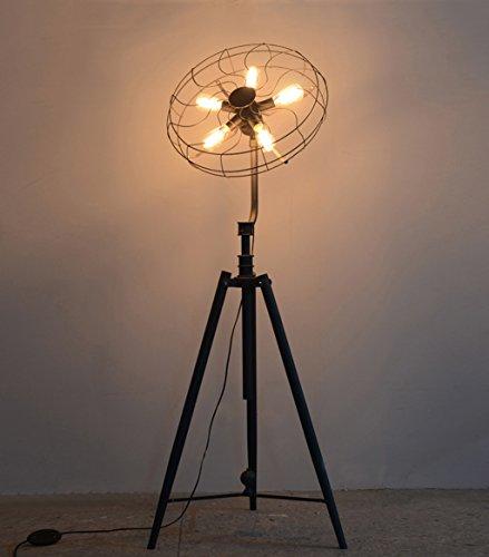 ZENGAI Retro Eisen-Fußboden-Lampen-Wohnzimmer-Schlafzimmer-industrielle lange Tabellen-Lampen-kreative Ventilator-Fußboden-Lampe - Tabellen Lange