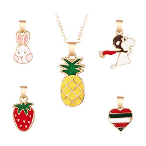PRENKIN Cartoon-Ananas-Anhänger in Form Kit Frauen-Mädchen-Legierung Halskette Kit Öl Dripping Schmuck Geschenk