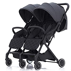 ZXYSR Double Stroller, Lightweight & Easy Folding Duo Baby Stroller with Side by Side Twin Seats, 5-Point Safety Harness, Suitable for 6 Months To 3 Years, Gray   4