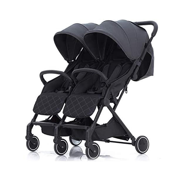 ZXYSR Double Stroller, Lightweight & Easy Folding Duo Baby Stroller with Side by Side Twin Seats, 5-Point Safety Harness, Suitable for 6 Months To 3 Years, Gray ZXYSR ★LIGHTWEIGHT - A lightweight stroller makes any outing a little easier! Convenience Stroller has a durable aluminum frame that weighs just 55 pounds and has a large seat area, plus anti-shock front wheels and lockable rear wheels. ★FOR TRAVEL AND EVERYDAY TRAVEL STROLLER- Whether you're traveling or just on the go running everyday errands, having a lightweight, compact stroller is a must! With this one easy to use stroller, you'll have both an everyday and travel stroller option. ★ MULTI POSITION RECLINING SEAT- Keep your little one comfortable and safe at all times with the 2 position recline and easily adjust for baby's comfort; large storage basket and two integrated seatback pockets provide space for baby's extras; seat holds child up to 55 pounds and includes a 5 point stroller harness. Maximum weight of child for this toddler stroller: 55 pounds . 1