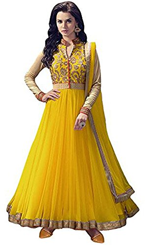 Women's Clothing Anarkali Suit Designer Party Wear Today Offers Low Price Sale Top Yellow Color Banglori Silk Fabric Free Size Salwar Kameez Dress  available at amazon for Rs.499