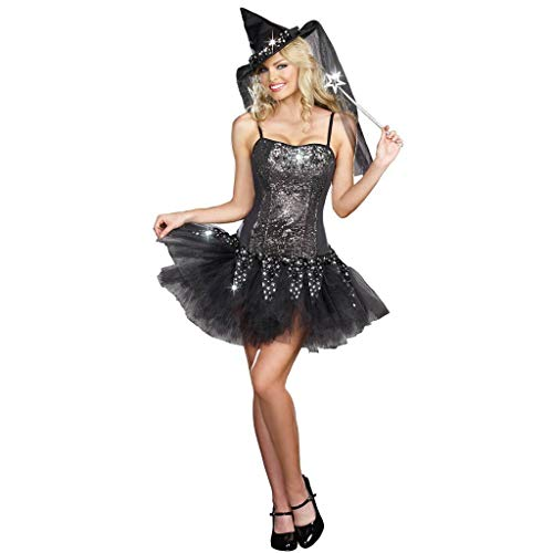 Tutu Spitzenkleid Hexenkleid mit Kappe für Frauen Sexy Kurzarm Halloween Kostüm Hexen Kleid für Cosplay Show, Vampir Kleidung für Festival Party Gr. Größe, Schwarz