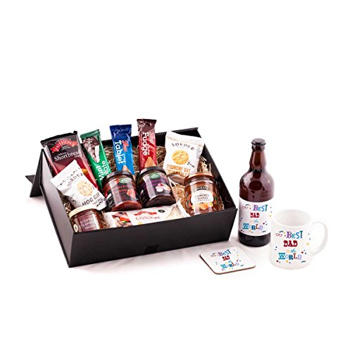 Best Dad in the World Beer Hamper - With beer. Great Birthday or Christmas present idea for your Dad from Scotland. Includes quality Scottish Amber Ale Beer, and mug and coaster set - Best Dad in The World.