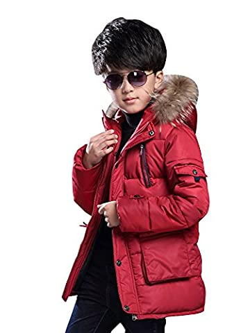 Big Boy's Winter Cotton Thick Hooded Parka Outwear Coat with Faux Fur Trim Red Tag 140-55